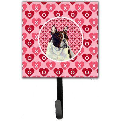 Caroline's Treasures French Bulldog Valentine's Love and Hearts Leash Holder and Wall Hook