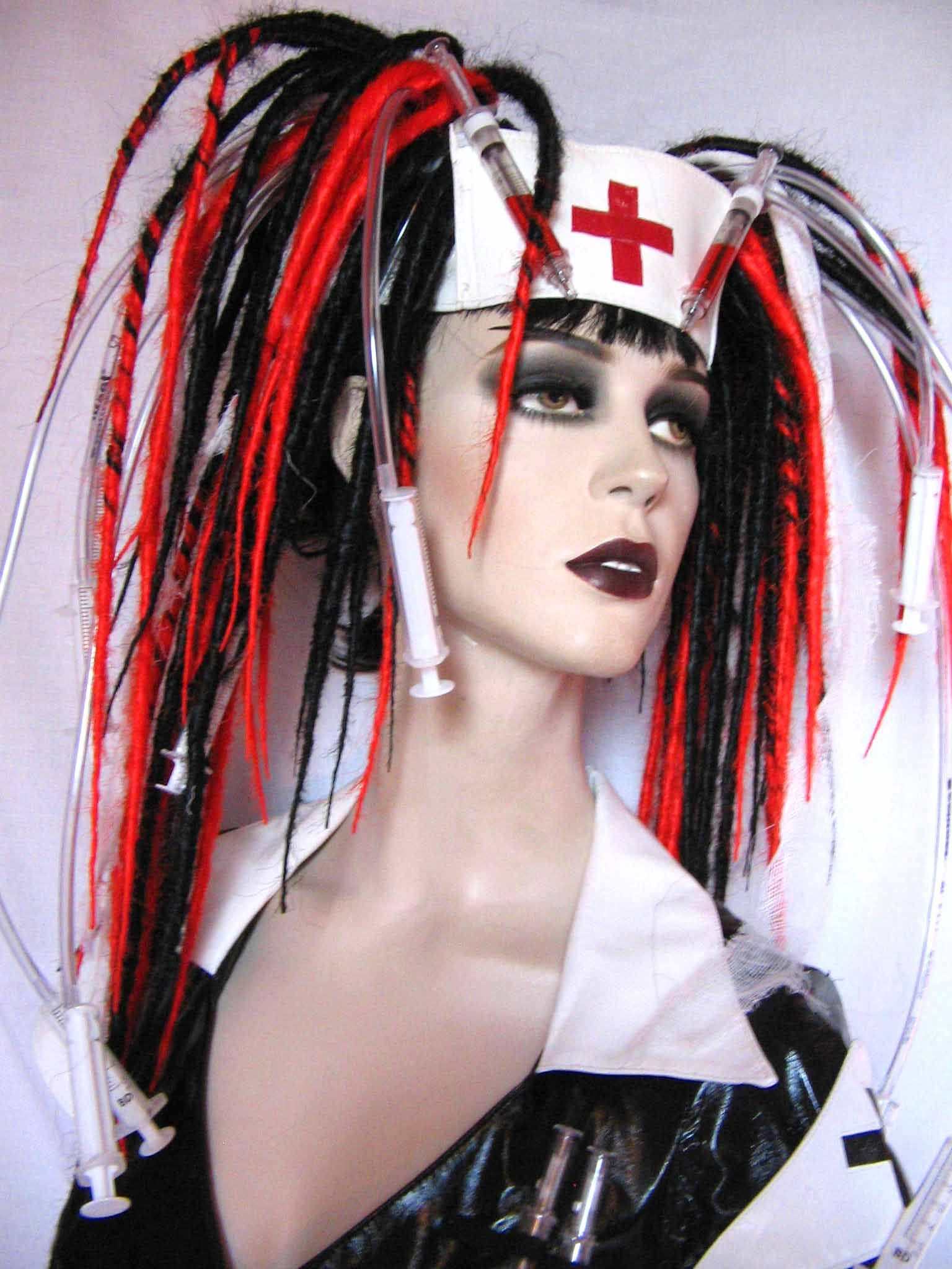 I want hair like this. Syringes and gauze and all