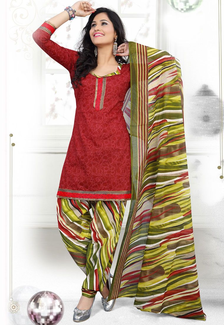 Bring out the glamorous best in you as you wear this Maroon-Green #Color Cotton Designer Patiala #SalwarKameez which is accompanied with a printed dupatta and bottom.