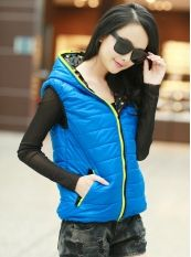 Fashion Style Candy Color Both Sides Wear Feather Cotton Waistcoat