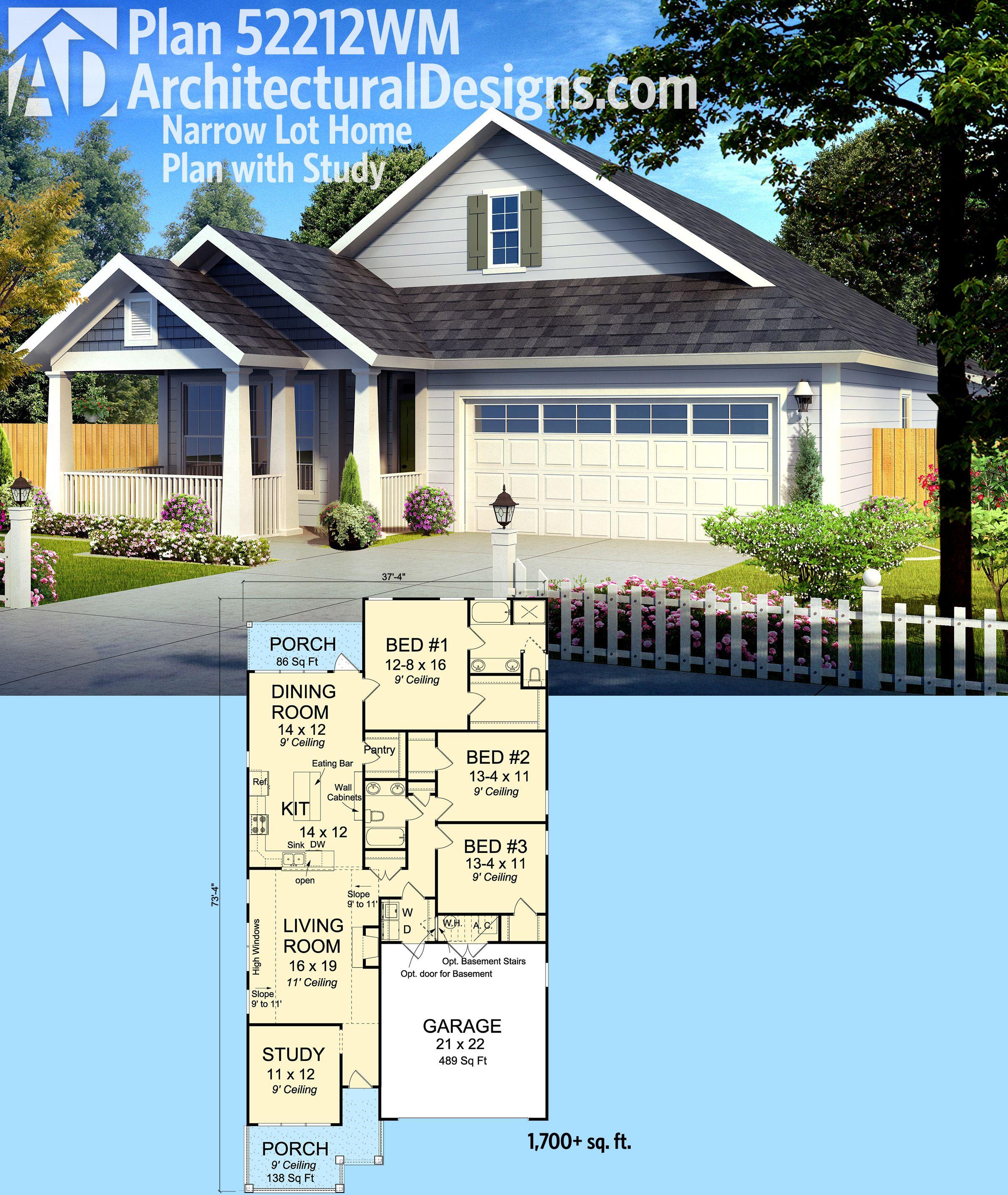 Plan 52212wm Narrow Lot Home Plan With Study Narrow House Plans Narrow Lot House Plans Dream House Plans