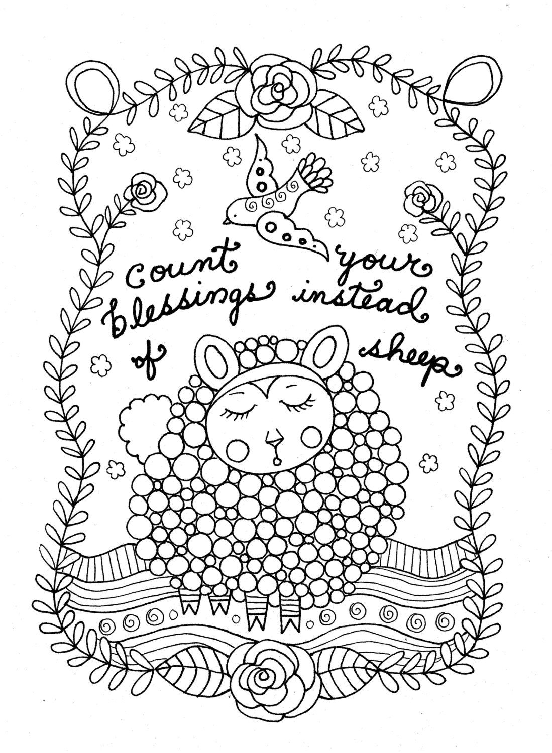 Printable Coloring Page Count Sheep Christian Art Girls Room Adult