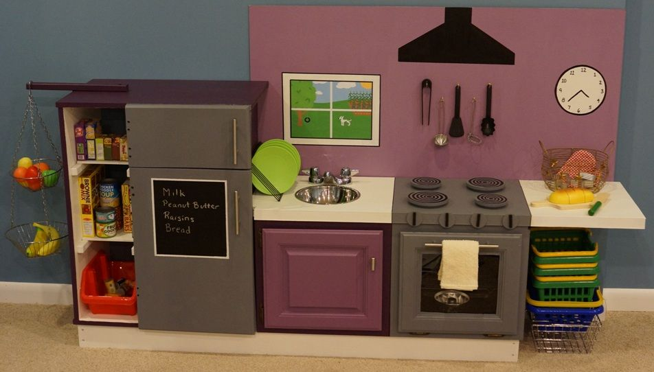 I am a child play kitchen ideas on pinterest play for Playroom kitchen ideas