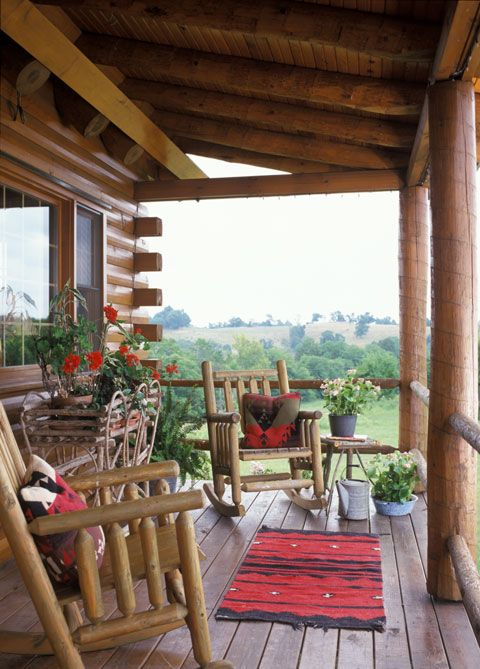 Log Porch With Great Rockers Cabin Porches Log Homes Country Porch