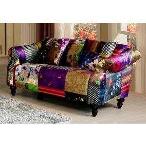 Avici Shout 2 Seater Fabric Patchwork Sofa Patchwork Sofa Sofa Suites Fabric Sofa