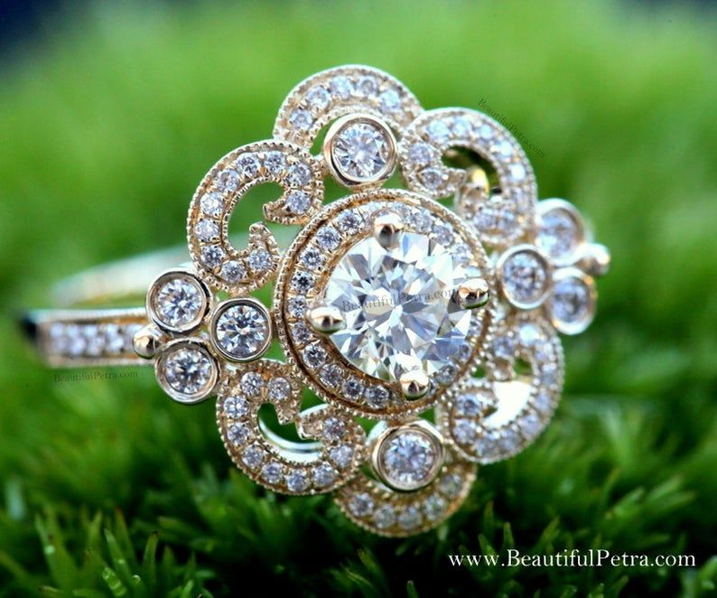 DUCHESS - 14k yellow, white, rose gold - Floral -