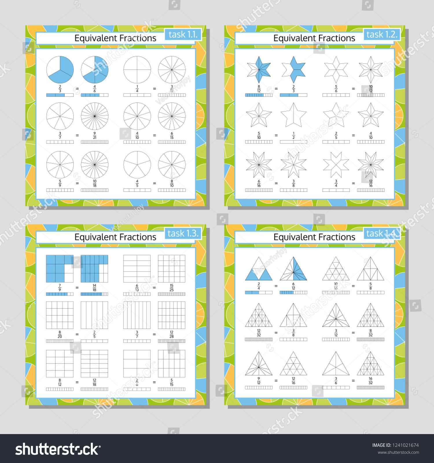 Equivalent Fractions Mathematical Worksheet Set Coloring