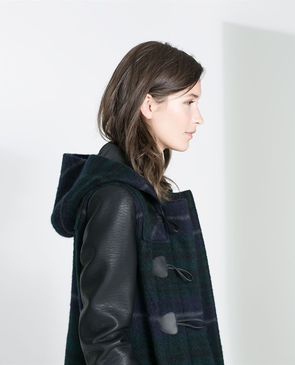 CHECKED DUFFEL COAT WITH LEATHER SLEEVES from Zara
