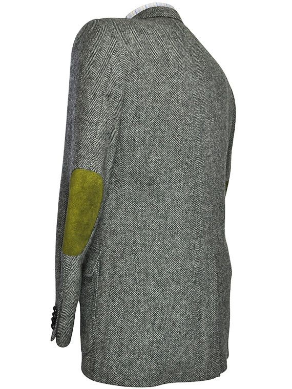 42l 42 Long Gray Black And White Herringbone Tweed Blazer With