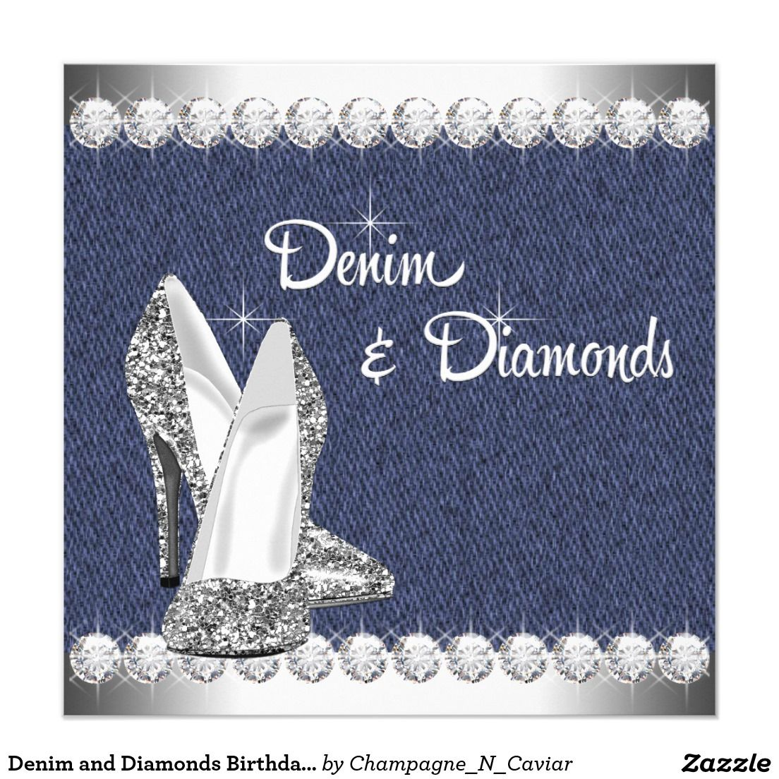 denim and diamonds birthday party invitation