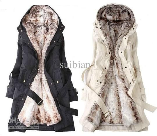 Hooded Women's Fur Winter With Faux Fur Ling Long Coat Outerwear ...