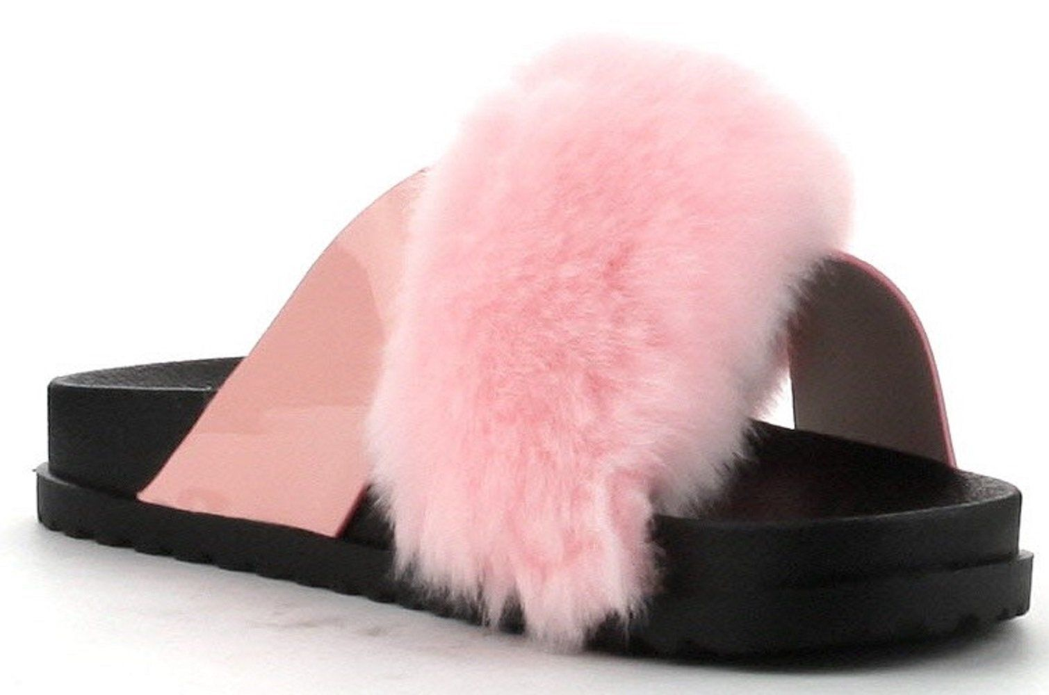Fury-2 Women Flip Flop Faux Fuzzy Fur