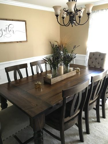 7 X 45 Baluster Turned Leg Table With A Traditional Top And Endcaps Stained Dark W Dining Room Table Centerpieces Dining Room Table Decor Dining Room Remodel