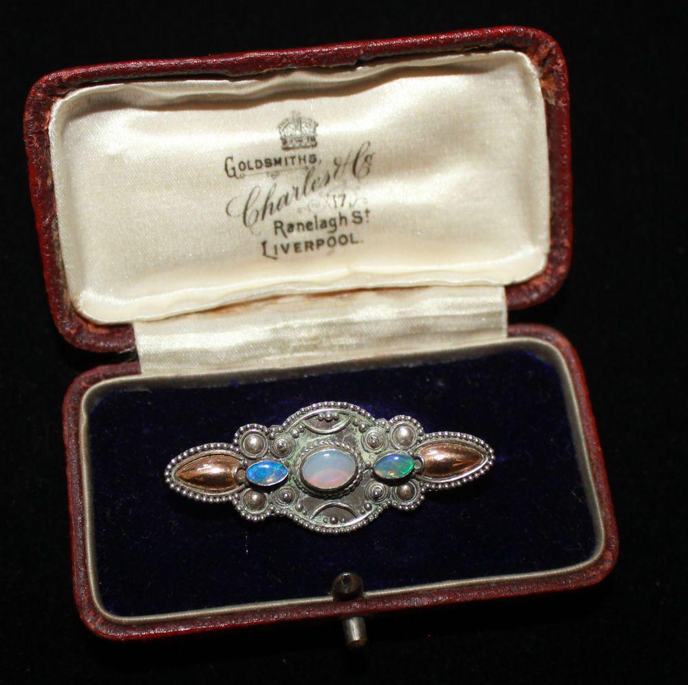 Silver Art Nouveau opal arts and crafts bar brooch vintage antique 925