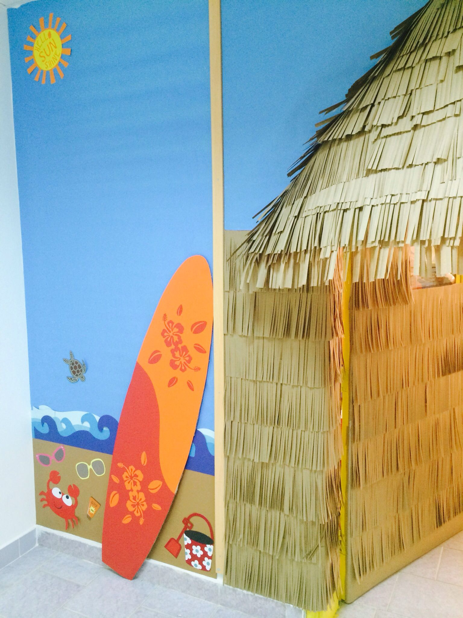 Top Tiki hut classroom door and wall decor. | Bulletin board and door  EJ87