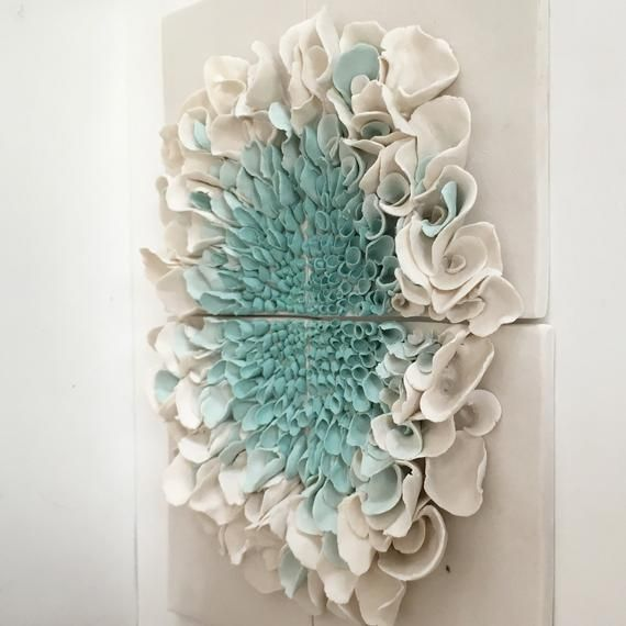 Photo of Ceramic Flower Wall Decor , Porcelain Blossom Tile, White Turquoise bloom Wall sculpture, Flower Sculptures, Floral Art Tile