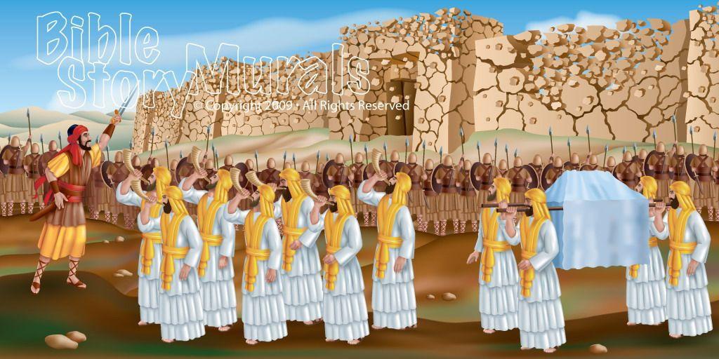 Joshua and the Battle of Jericho wall mural   Preschoool Sunday ...