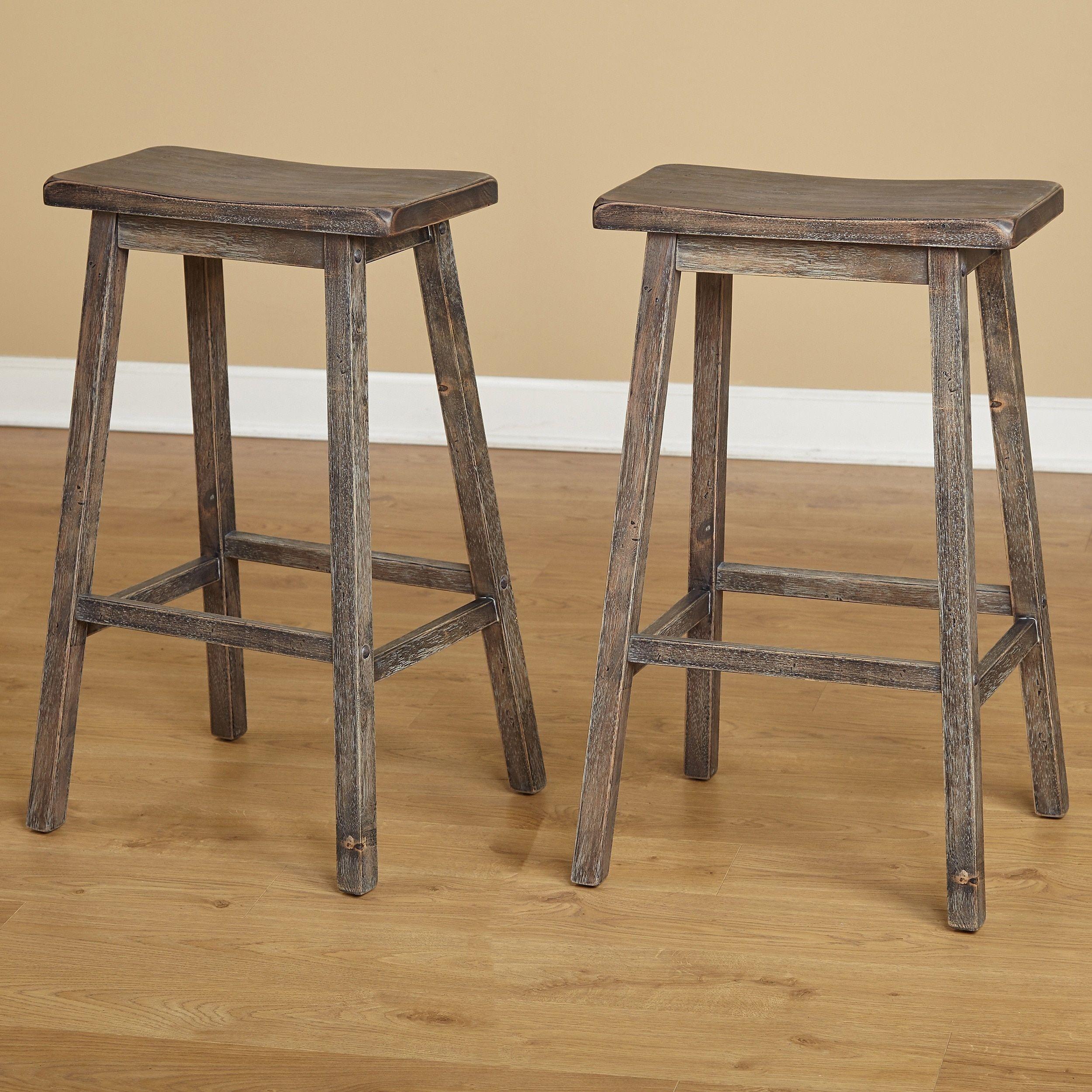 Simple Living Marney Rubberwood Bar Stool Saddle Set Of 2 Grey Gray Stool Saddle Seat Bar Stool Bar Stools