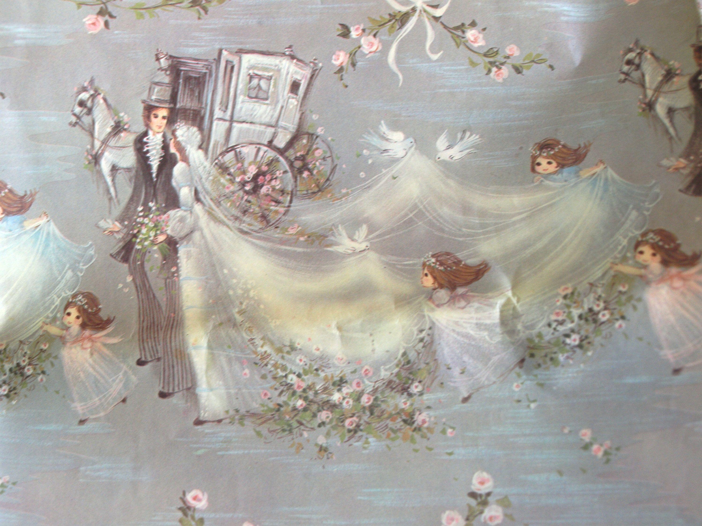 Bride groom wedding gift wrap vintage kitsch john sands
