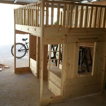 Cottage Loft bed but could be a fire house or an outdoor play house whatever your imagine can | Yelp