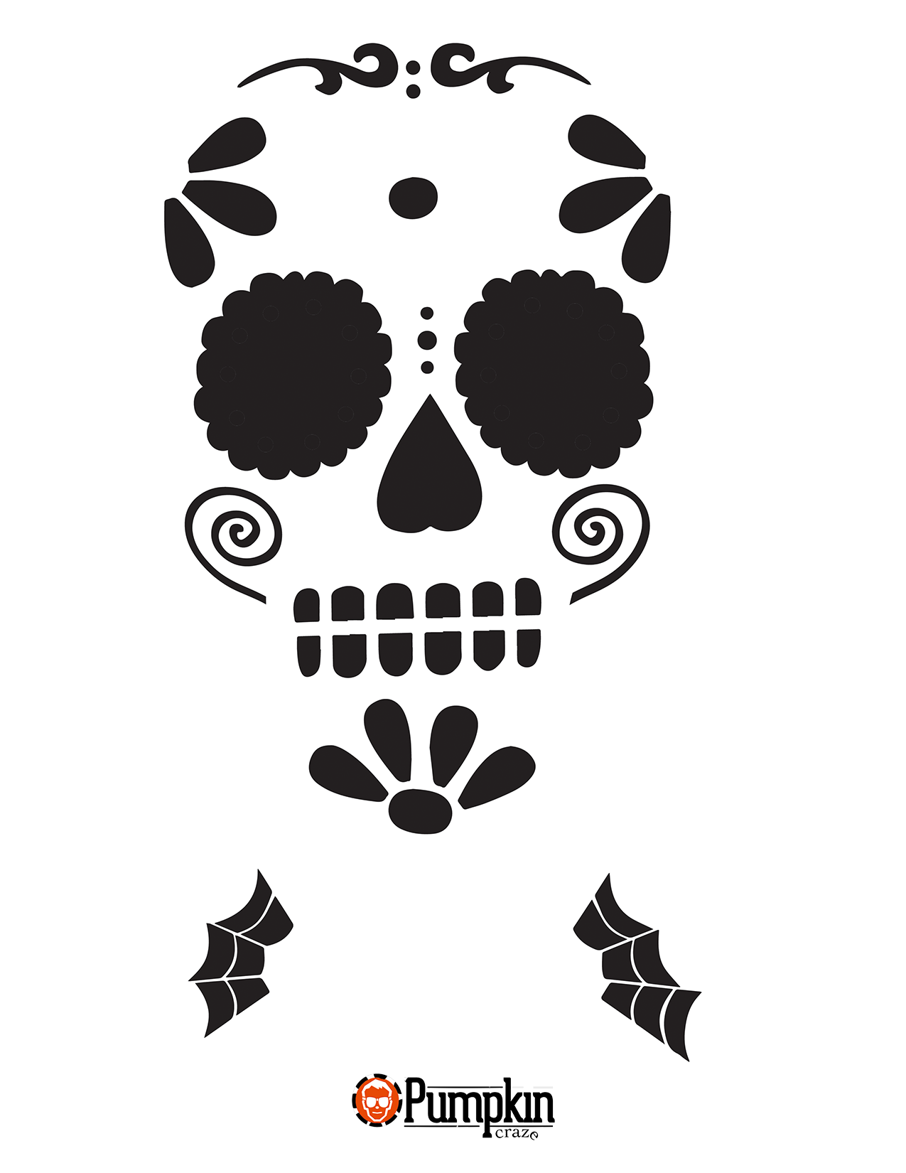 Sugar skull pumpkin carving patterns for Simple pumpkin stencils