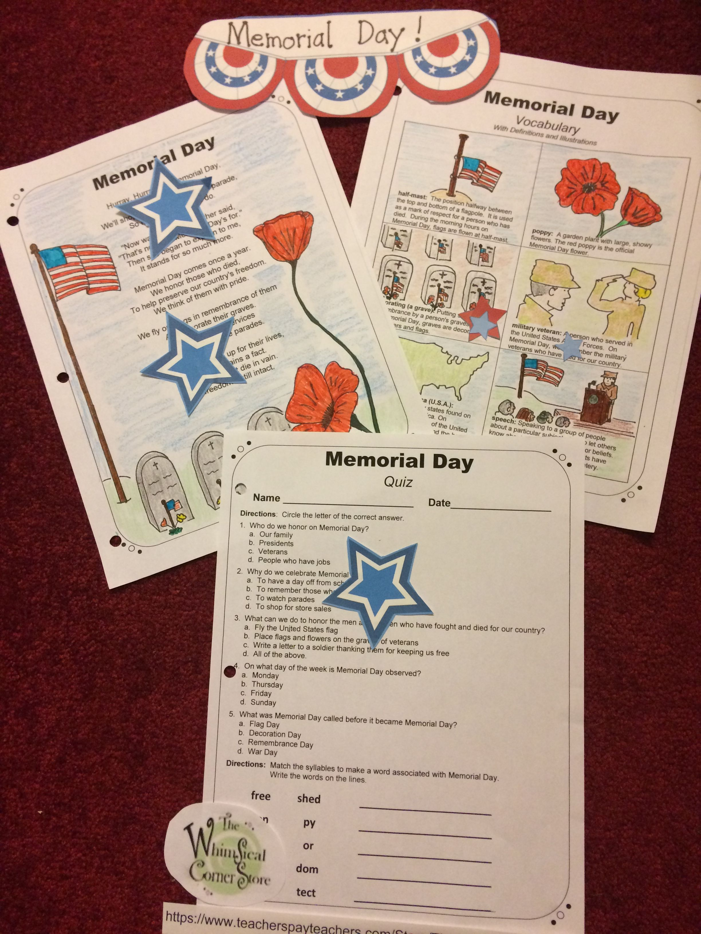 Memorial Day Original Poem With Before And After Reading