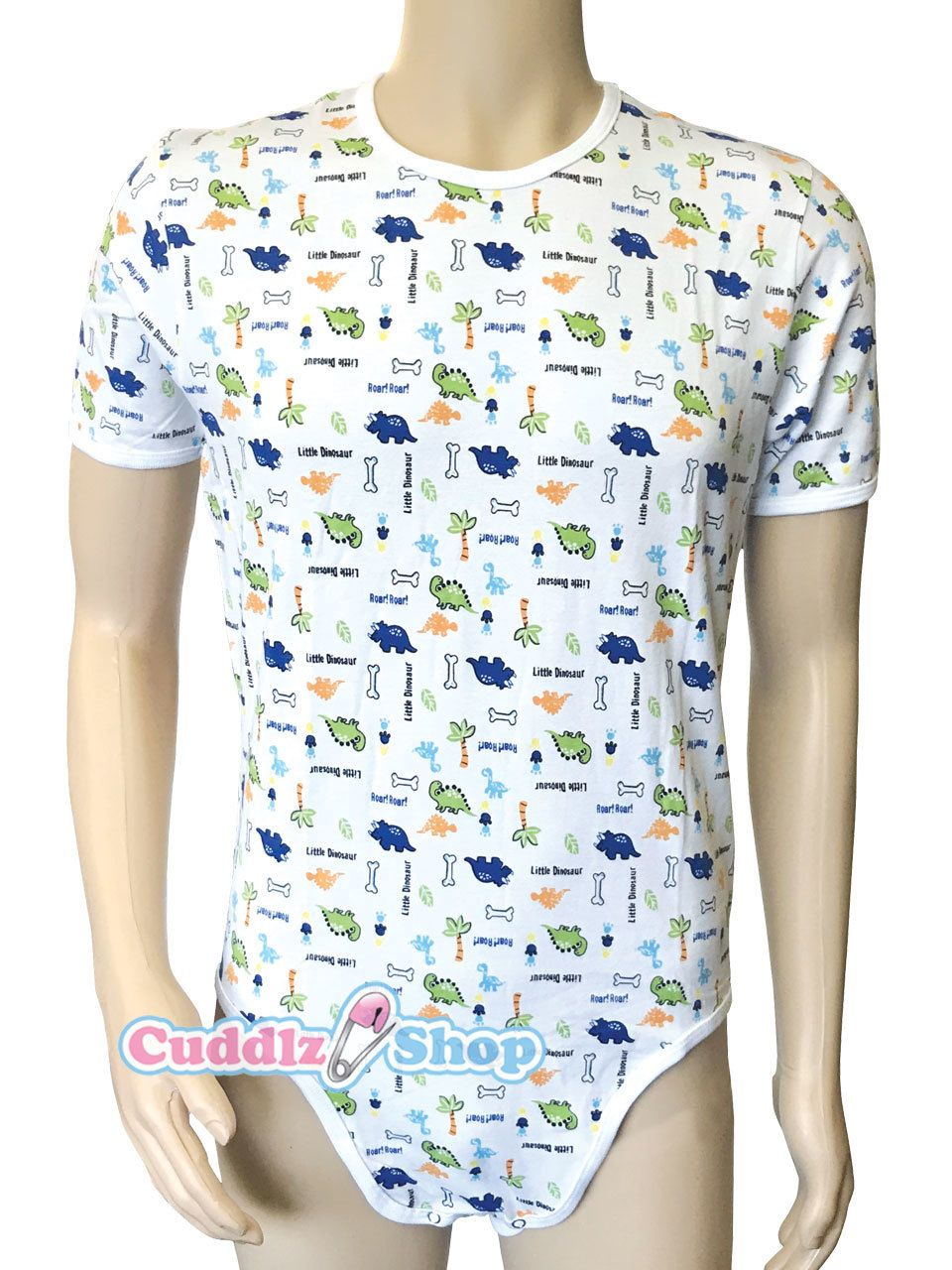 02936e34683 Cuddlz Little Dinosaur Animal Pattern Stretch Cotton onesie for adults ABDL  Adult Baby Body Suit