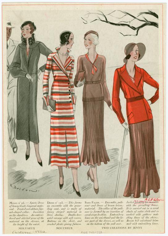 Women S 1932 Fashion Ensembles By Molyneux And Jenny Moda Vintage Patrones De Costura Vintage Dibujos De Moda