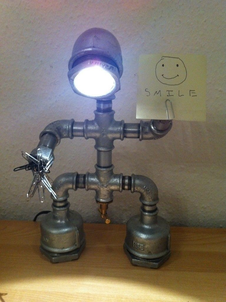 Halogen Lamp Made Of Galvanised Wires And Looking Like Funny Robot