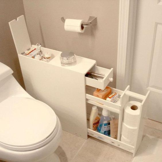 Space Saving Bathroom Floor Cabinet in White Wood Finish images