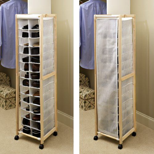 Rolling Portable Shoe Rack 14 Pair Tower Closet Home Organizer Space Saver  Shelf