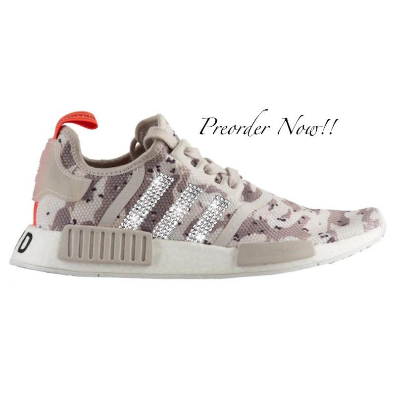 huge selection of 480f9 a07c1 Swarovski Womens Adidas Originals NMD R1 Tan Camo Sneakers   Etsy