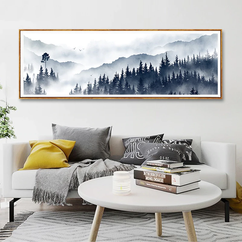 Misty Mountain Forest Landscape Widescreen Wall Art Nordic Style Fine Art Canvas Prints Pictures For Modern Scandinavian Home Interior Decoration Scandinavian Home Interiors Landscape Wall Decor Forest Landscape