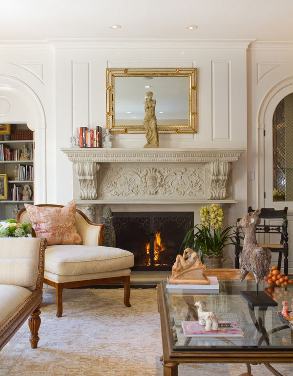 French Colonial Formal Living Room With Grand Opulent Fireplace I