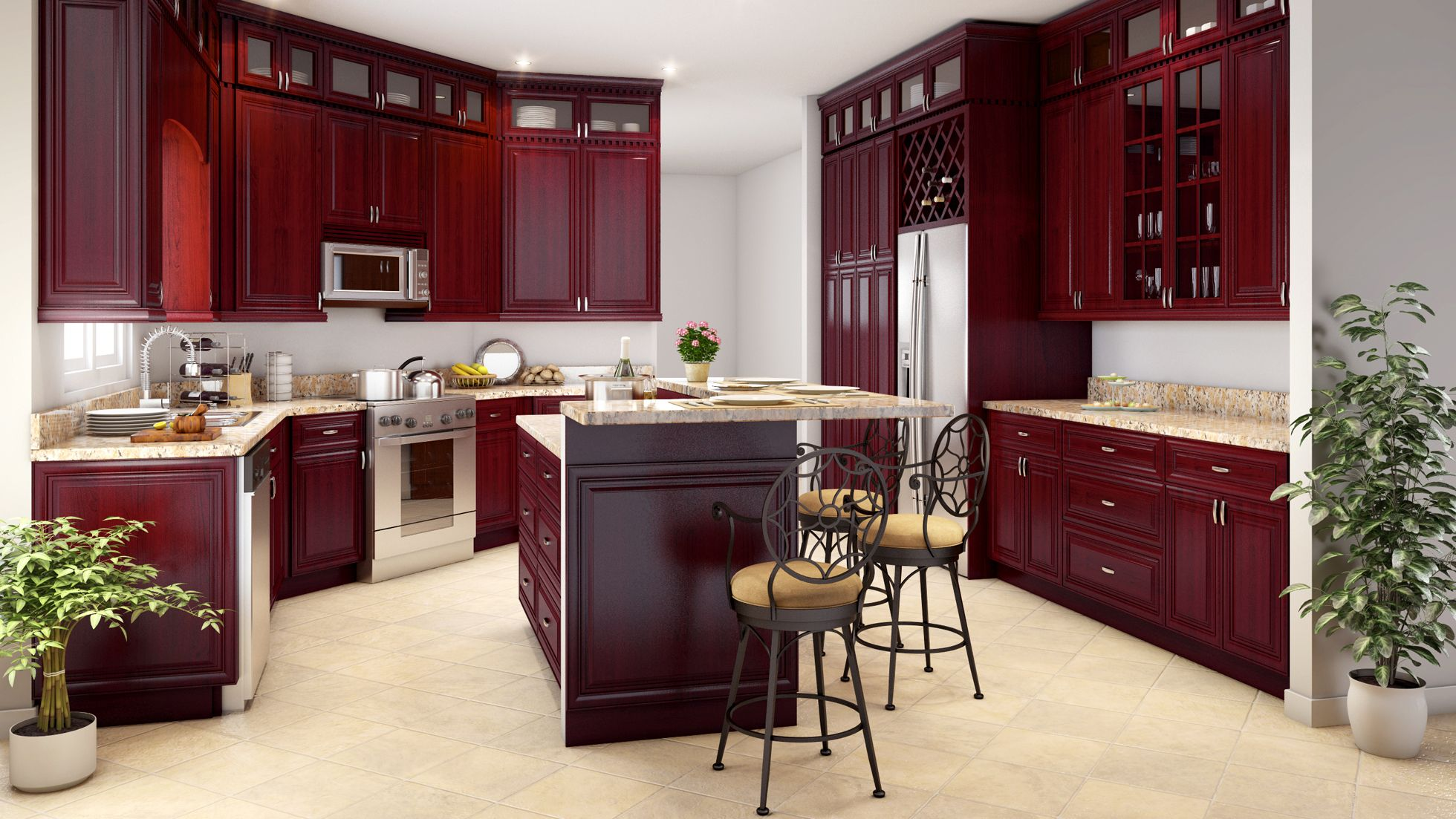 Purchase Bathroom Vanities And Kitchen Cabinets Designed And Manufactured By World S Le With Images Cherry Wood Kitchen Cabinets Glass Kitchen Cabinet Doors Kitchen Design