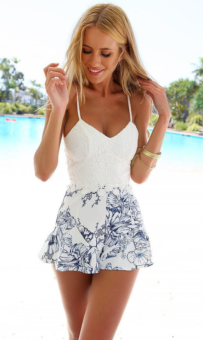 d751c0cdf8f10 White with Printed Floral Romper |Pinterest: @chenebessenger ...