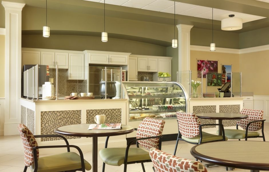 Coffee shop hospitality interior design by spellman - Senior living interior design firms ...