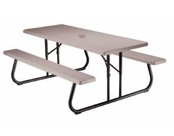 Lifetime Picnic Tables Putty Folding Umbrealla Ready - Folding picnic table home depot