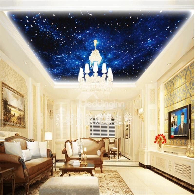3d Galaxy Pattern Waterproof Durable And Eco Friendly Self Adhesive Ceiling Murals Beddinginn Com Ceiling Murals Room Wallpaper Dream Living Rooms