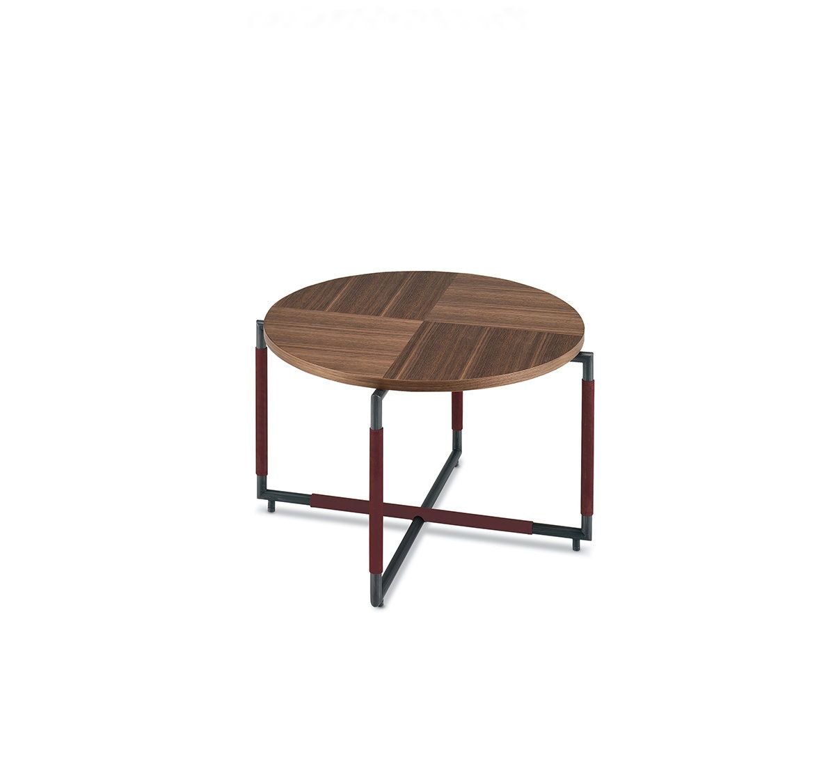 BAK CT O, design Ferruccio Laviani.   Small table with a brushed or lacquered steel frame upholstered with leather and walnut top. Available in square or round version and in two different heights.
