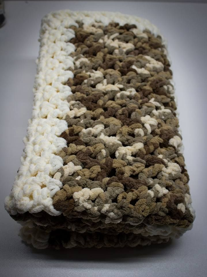 Camo Crocheted Blanket Camel Shades Bernat Chunky Blanket