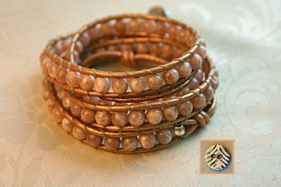 Sunrise Blush Leather Wrap Bracelet by OceanAirStudio on Etsy, $90.00