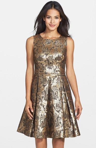 933282b2004 Free shipping and returns on Eliza J Metallic Jacquard Fit   Flare Dress  (Petite) at Nordstrom.com. Gilt jacquard gleams throughout a pleat-flared  party ...