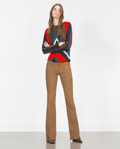 Image 1 of FLARED CORDUROY TROUSERS from Zara