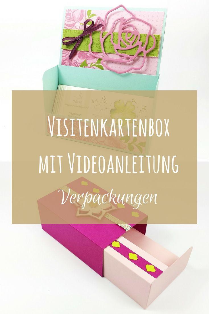 Visitenkartenbox mit Videoanleitung selber basteln. Zum Beispiel als ...