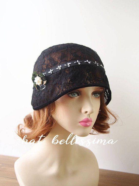 0a68ff06b black1920s Cloche Hat flowers Lace fabric Vintage Style hat ...