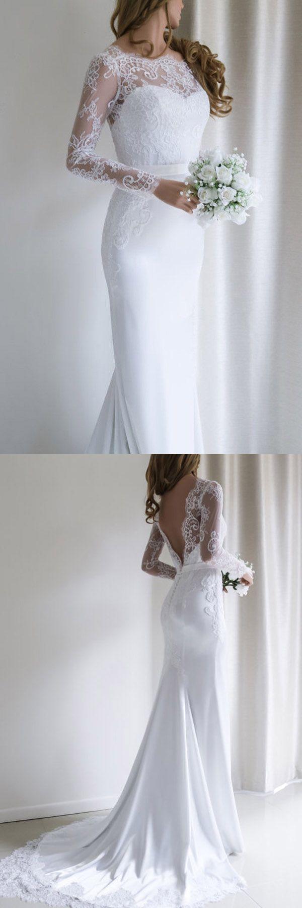 Elegant lace long sleeves mermaid white long wedding dress with