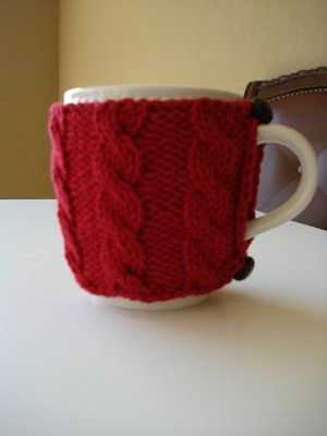 Free Knitting Pattern Cozies Quick Cabled Cup Cozy Knit Stuff