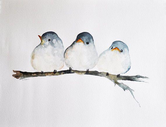 Drei Vogel Original Aquarell Vogel Kunst Junge Vogel 20