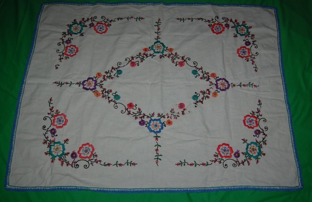 """Vintage Hand Embroidered Linen Tablecloth Blue Diamond Floral 46"""" x 35"""" Orange  #Embroidered"""